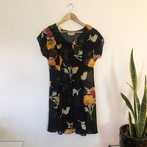Vintage 90's sheer floral button up dress